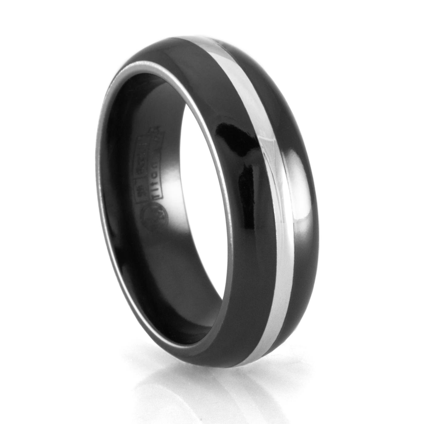 Edward Mirell Black Titanium And White Gold Wedding Band Pertaining To Obsidian Wedding Bands (View 1 of 15)