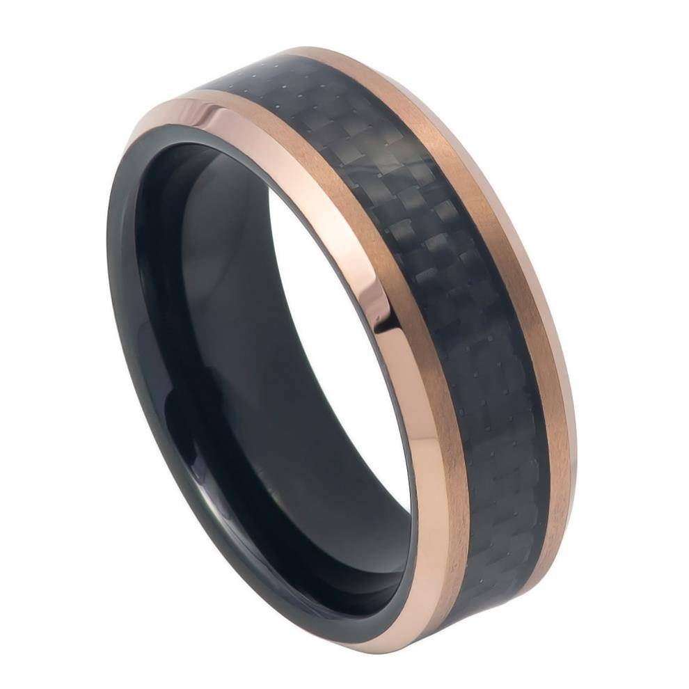 Egino Tungsten Two Tone Black Men's Tungsten Wedding Ringzeus With Regard To Tungston Wedding Rings (View 4 of 15)