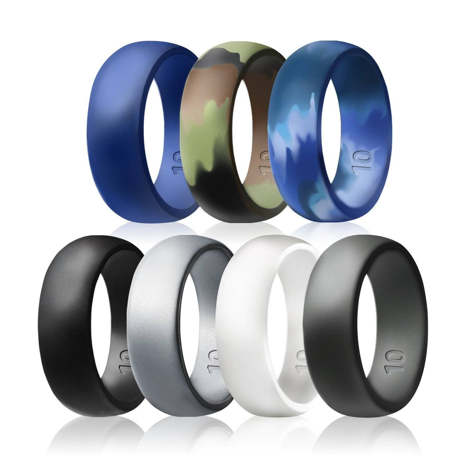 Egnaro Silicone Wedding Rings – 7 Rings Pack – Design For Men Size Inside Silicone Wedding Bands (View 15 of 15)