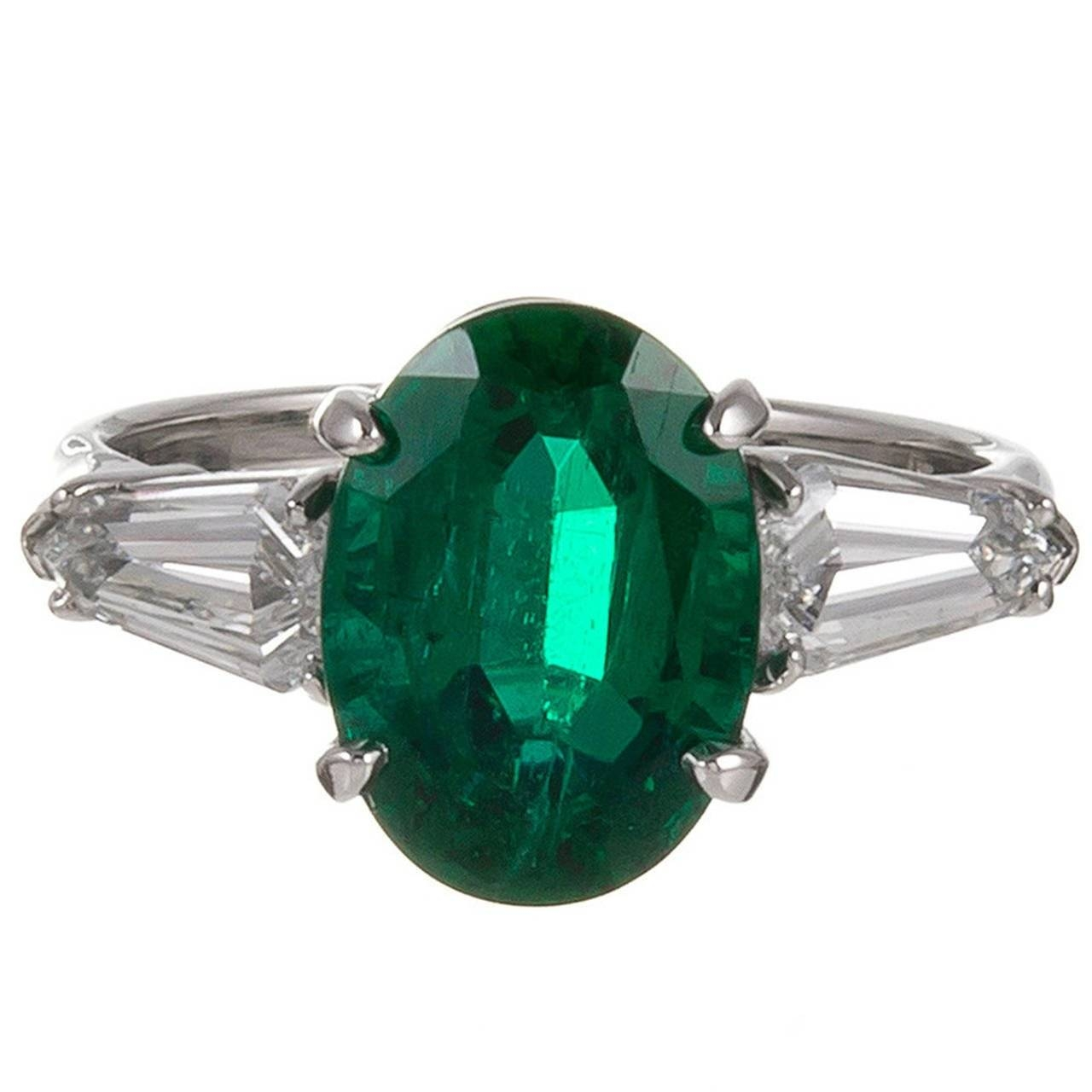 Elegant 3.49 Carat Oval Emerald Kite Diamond Shoulders Platinum In Oval Emerald Engagement Rings (Gallery 7 of 15)