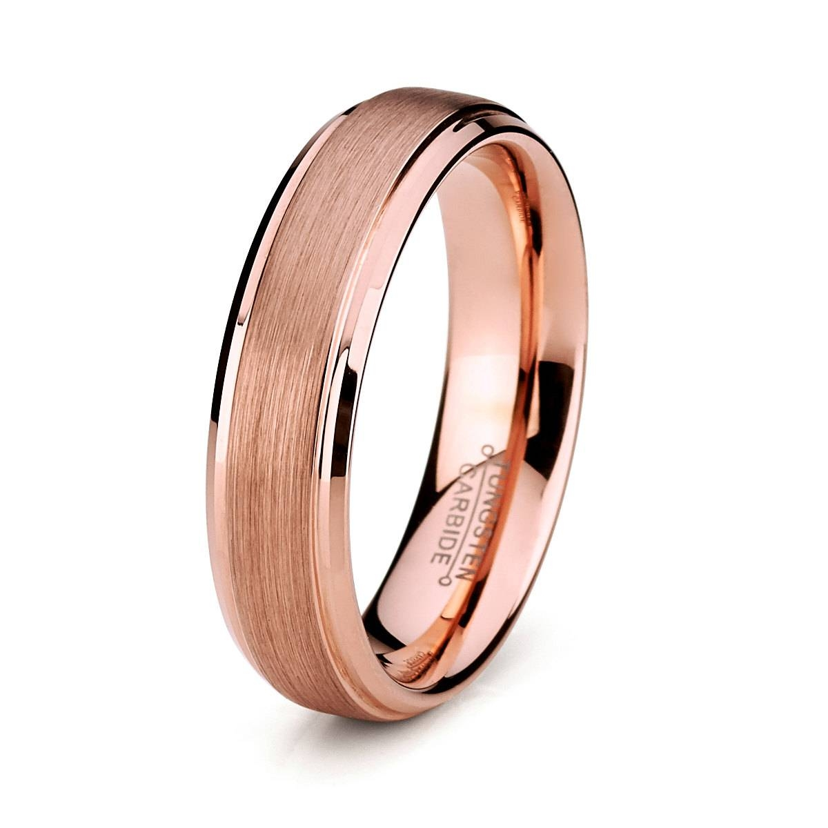 Elegant Rose Gold Tungsten Wedding Band For Man, | Ringscollection For Tungsten And Rose Gold Wedding Bands (View 7 of 15)