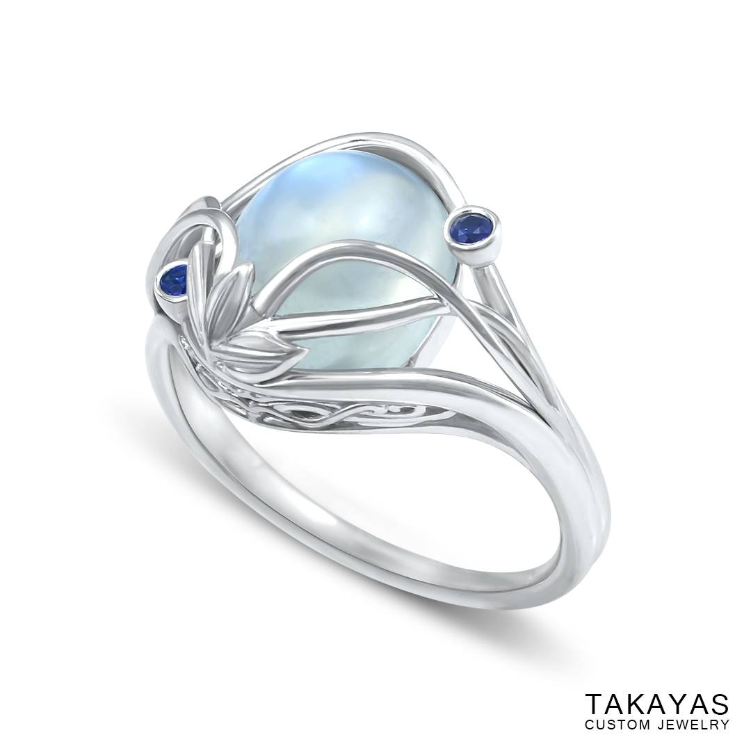 Elvish Moonstone Engagement Ring — Takayas Custom Jewelry Pertaining To Elven Inspired Engagement Rings (View 8 of 15)