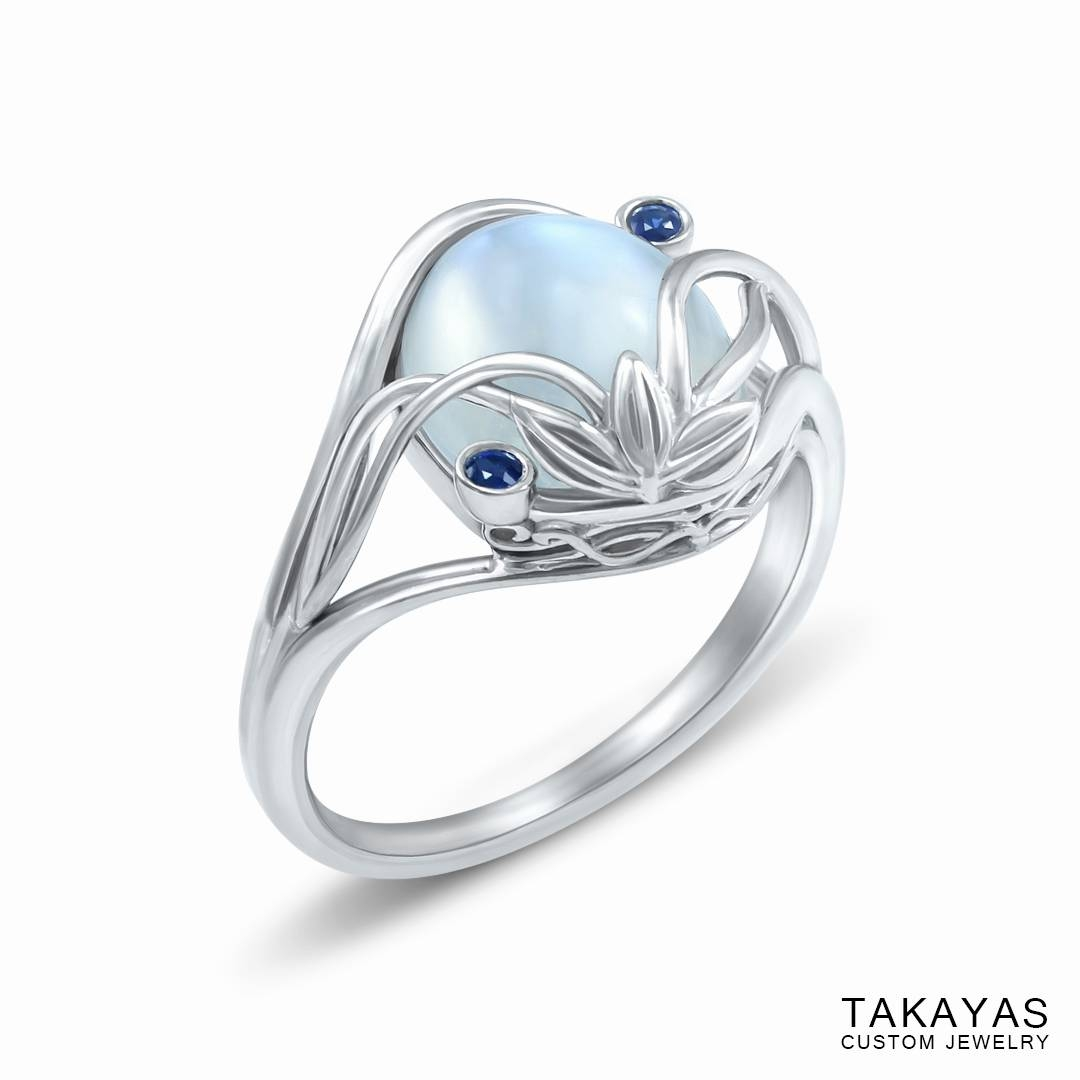 Elvish Moonstone Engagement Ring — Takayas Custom Jewelry With Regard To Elven Inspired Engagement Rings (View 9 of 15)