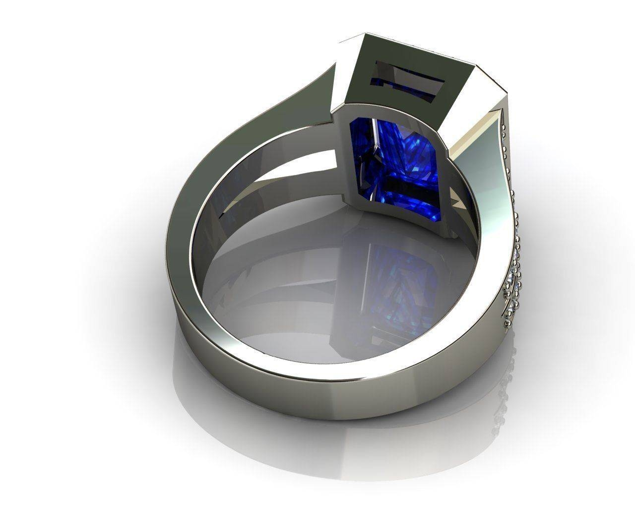 Emerald Cut Blue Sapphire Engagement Rings 3d Print Model Pertaining To Emerald Sapphire Engagement Rings (View 10 of 15)