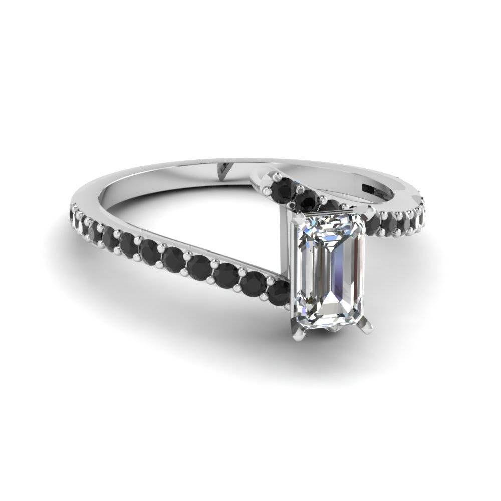 Emerald Cut Diamond Colorful Engagement Ring With Black Diamond In Within White Emerald Engagement Rings (View 8 of 15)