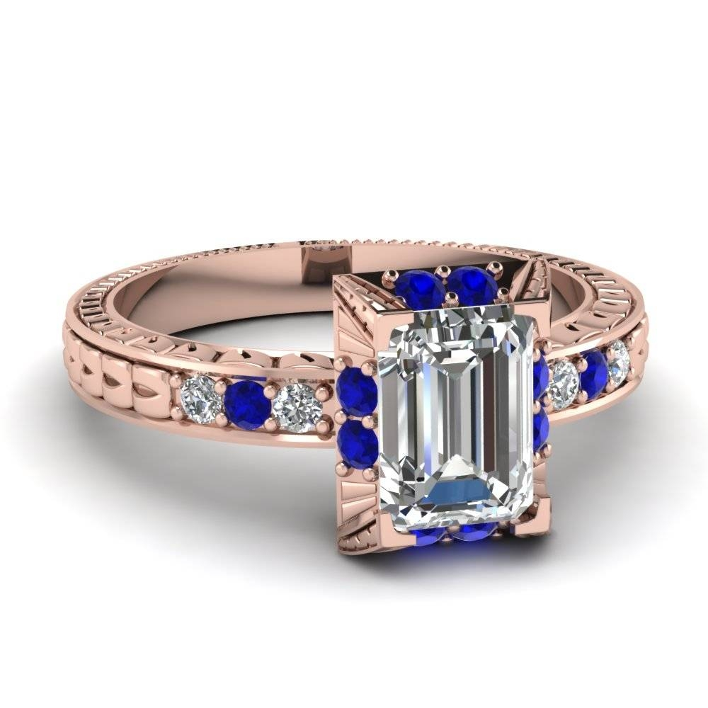 Emerald Cut Diamond Elegant Emerald Vintage Ring With Blue Intended For Emerald Sapphire Engagement Rings (Gallery 3 of 15)