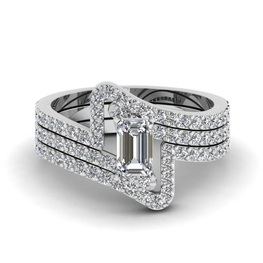 Emerald Cut Diamond Engagement Ring And Wedding Band Set In 950 Pertaining To Engagement Rings With Wedding Band Set (View 6 of 15)