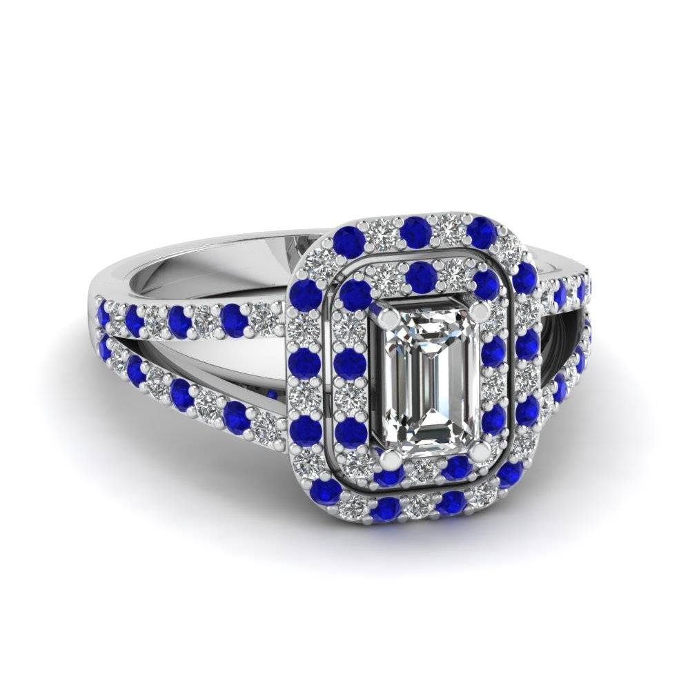 Emerald Cut Diamond Engagement Ring With Blue Sapphire In 14K Pertaining To Emerald Sapphire Engagement Rings (Gallery 7 of 15)