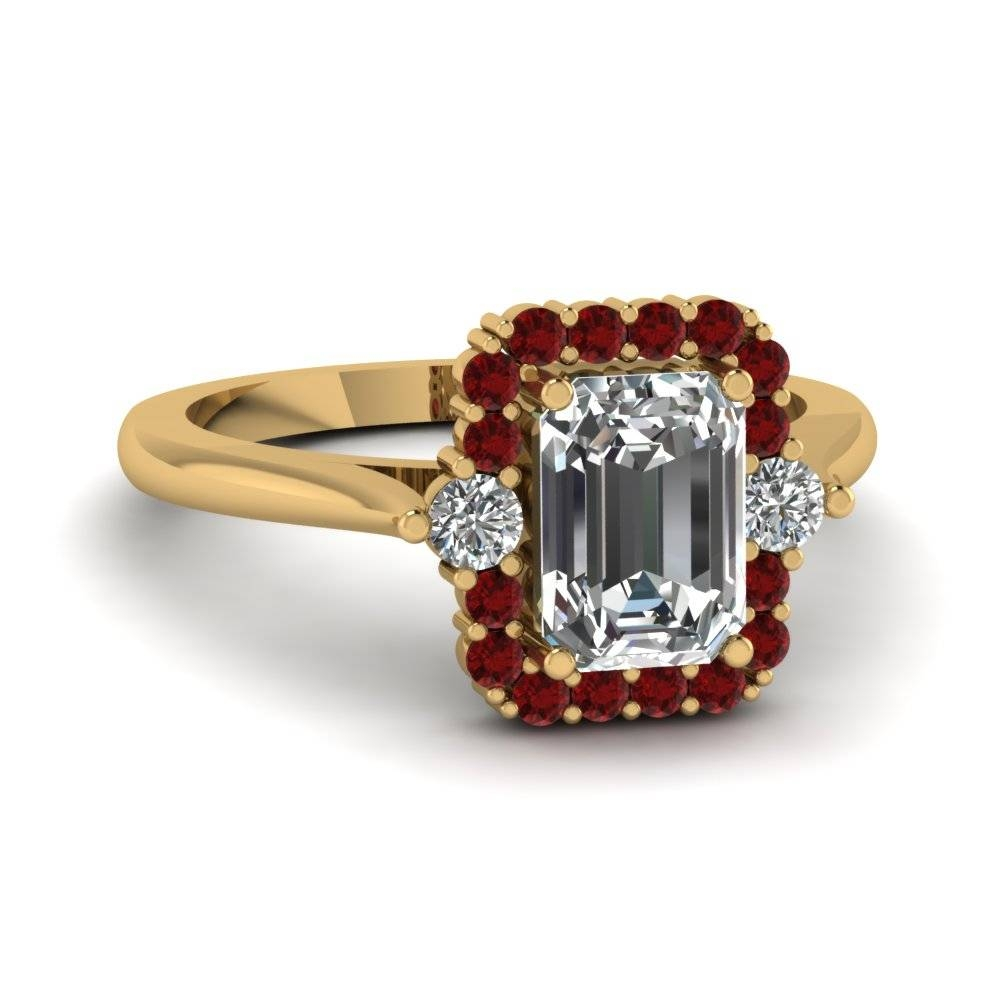 Emerald Cut Diamond Engagement Ring With Red Ruby In 14K Yellow With Ruby Engagement Rings Yellow Gold (View 14 of 15)