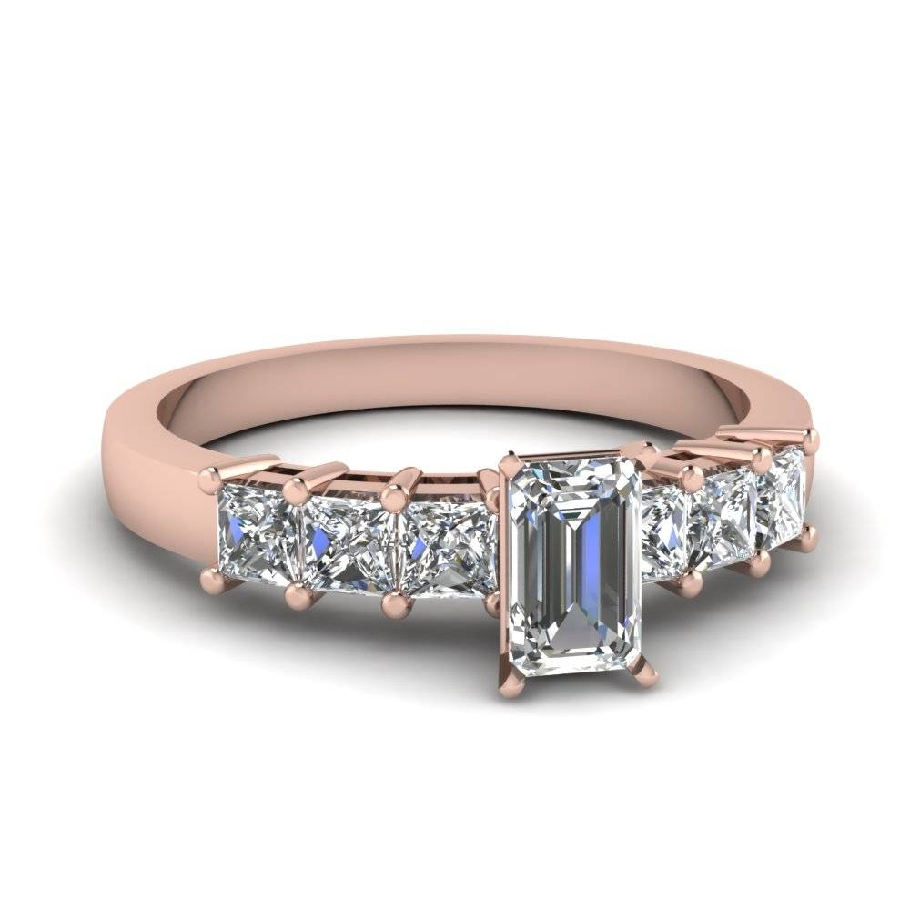 Emerald Cut Diamond Ring Settings With Princess Side Stone In 14K Intended For Diamond Wedding Rings Settings (View 7 of 15)