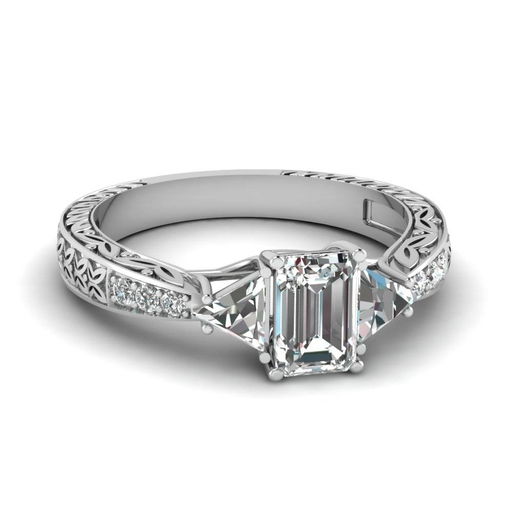 Emerald Cut Diamond Twin Trillion Vintage Ring In 14k White Gold Intended For Engagement Rings With Emerald (View 2 of 15)