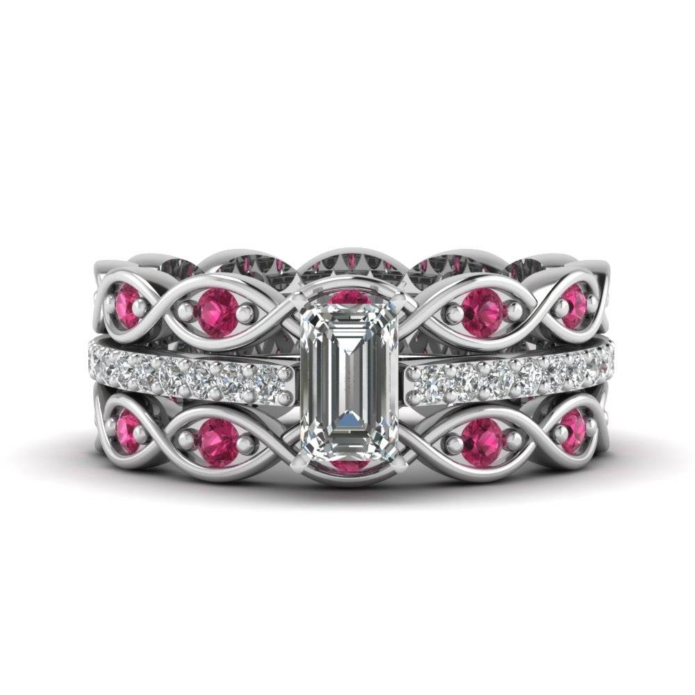 Emerald Cut Infinity Band Diamond Ring Sets With Dark Pink Regarding Trio Engagement Ring Sets (Gallery 11 of 15)