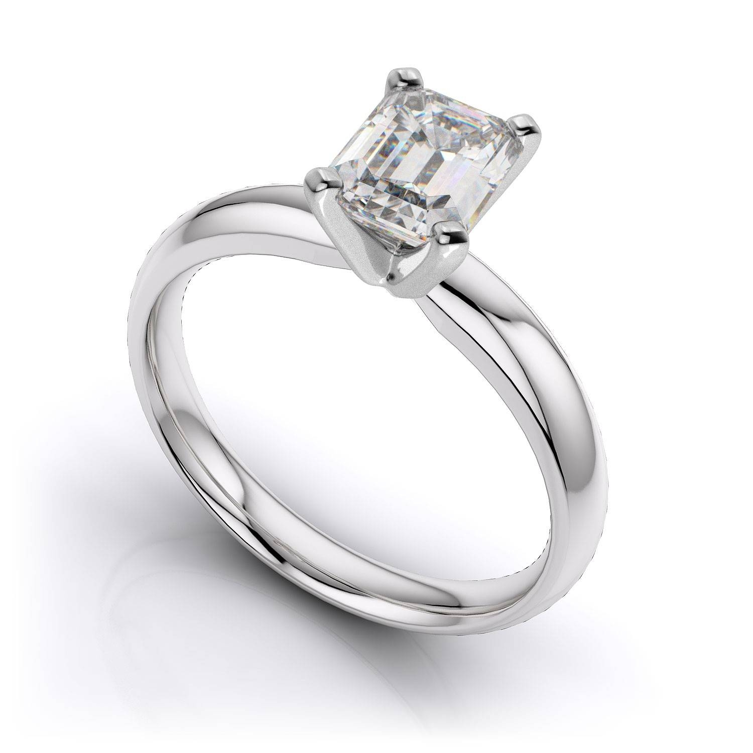 Emerald Cut Solitaire Diamond Engagement Ring – Platinum Within Diamond Wedding Rings Settings (View 8 of 15)