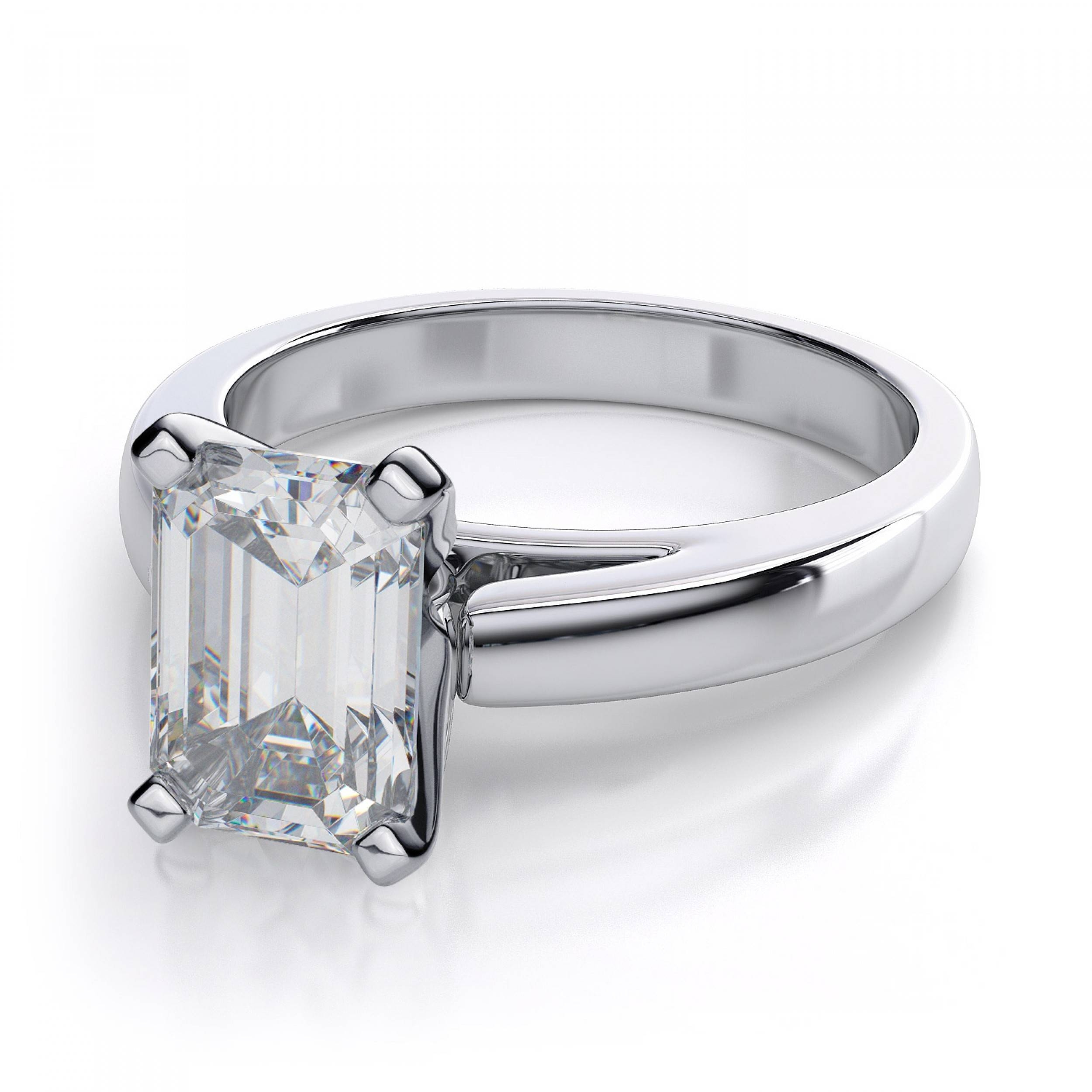 Emerald Cut Solitaire Engagement Ring – 14K White Gold Regarding White Emerald Engagement Rings (Gallery 6 of 15)