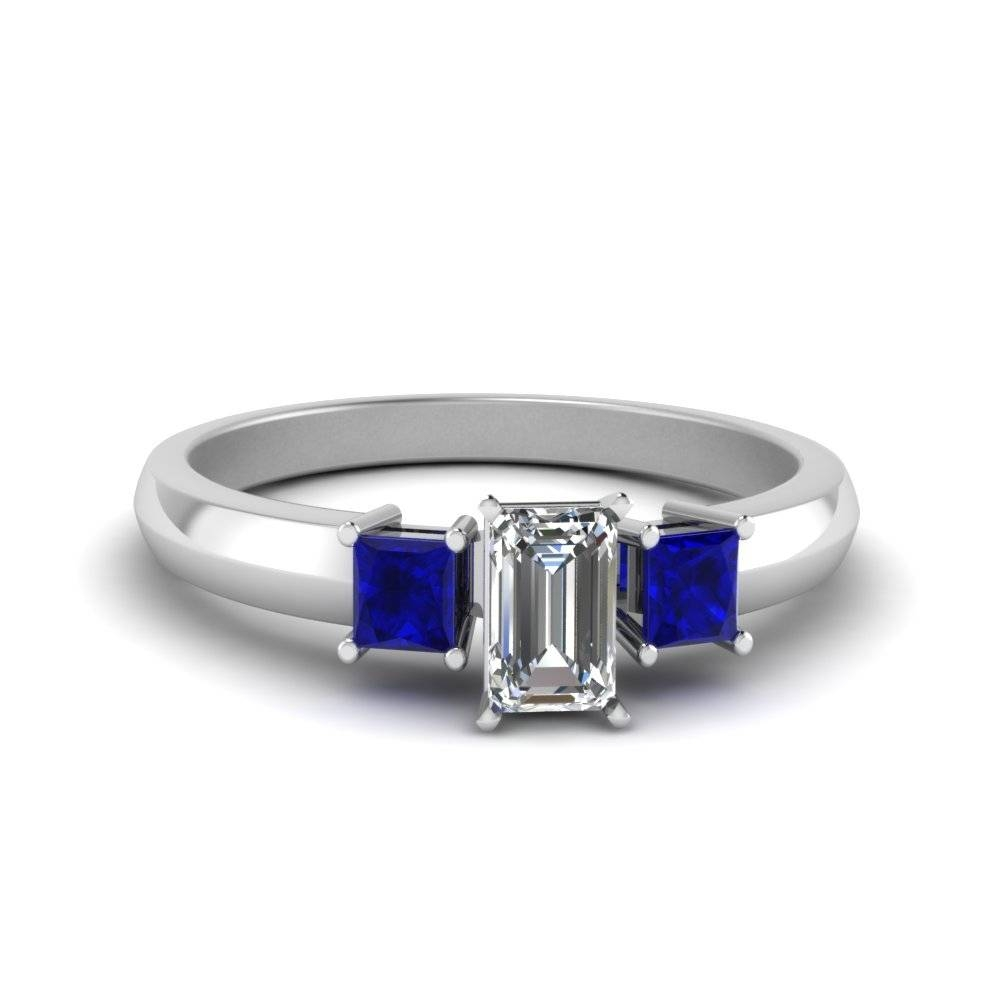 Emerald Cut Three Stone Glossy Diamond Engagement Ring For Women Regarding Emerald And Sapphire Engagement Rings (View 8 of 15)
