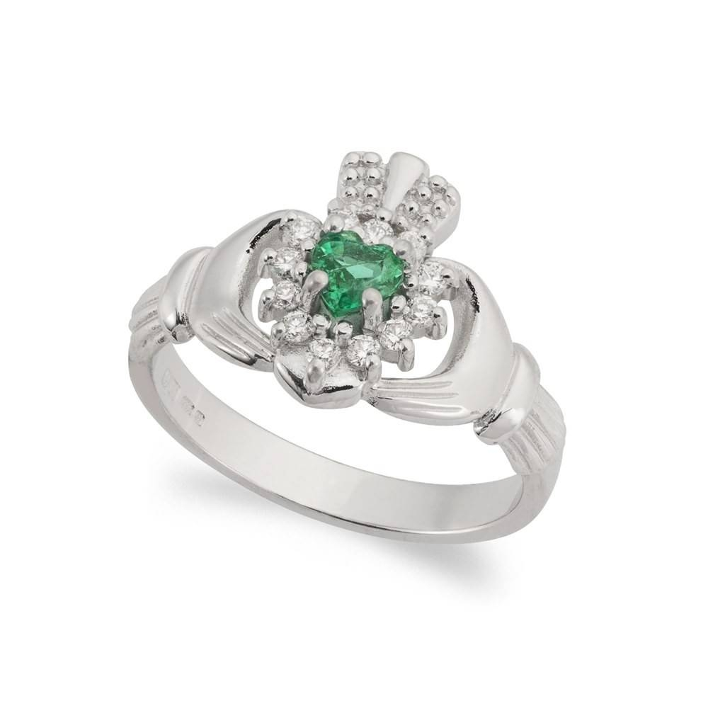 Emerald & Diamond Claddagh Ring 18Kt White Gold | Claddagh Jewellers Intended For Claddagh Rings Engagement (Gallery 2 of 15)