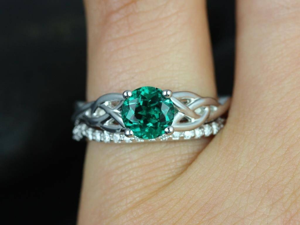 Emerald Emerald Diamond Celtic Knot Engagement Ring Pave Diamonds Within Celtic Engagement Ring Settings (View 12 of 15)