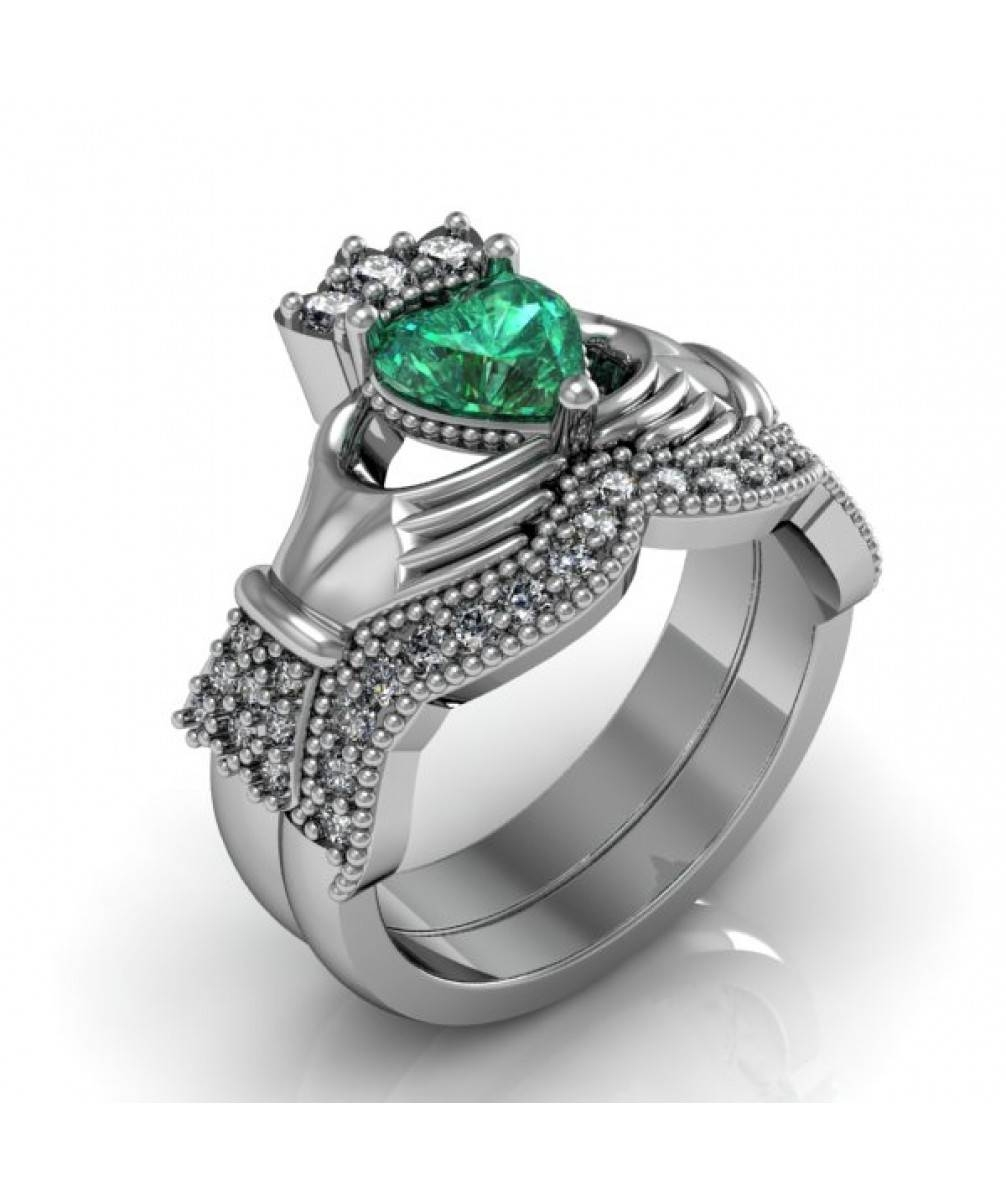 Emerald Sterling Silver Claddagh Engagement And Wedding Ring Set Pertaining To Emerald Claddagh Engagement Rings (View 6 of 15)