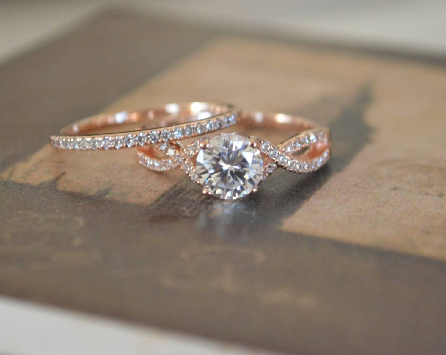 Engagement Ring Band Setting Rose Gold Twisted Band Intended For Infinity Twist Wedding Bands (View 7 of 15)