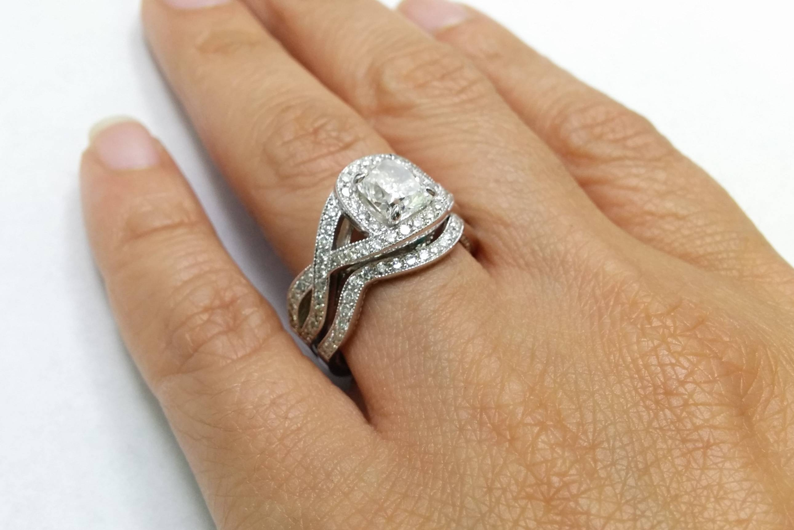 Engagement Ring  Cushion Diamond Swirl Halo Intertwined Band With Intertwined Wedding Bands (View 5 of 15)