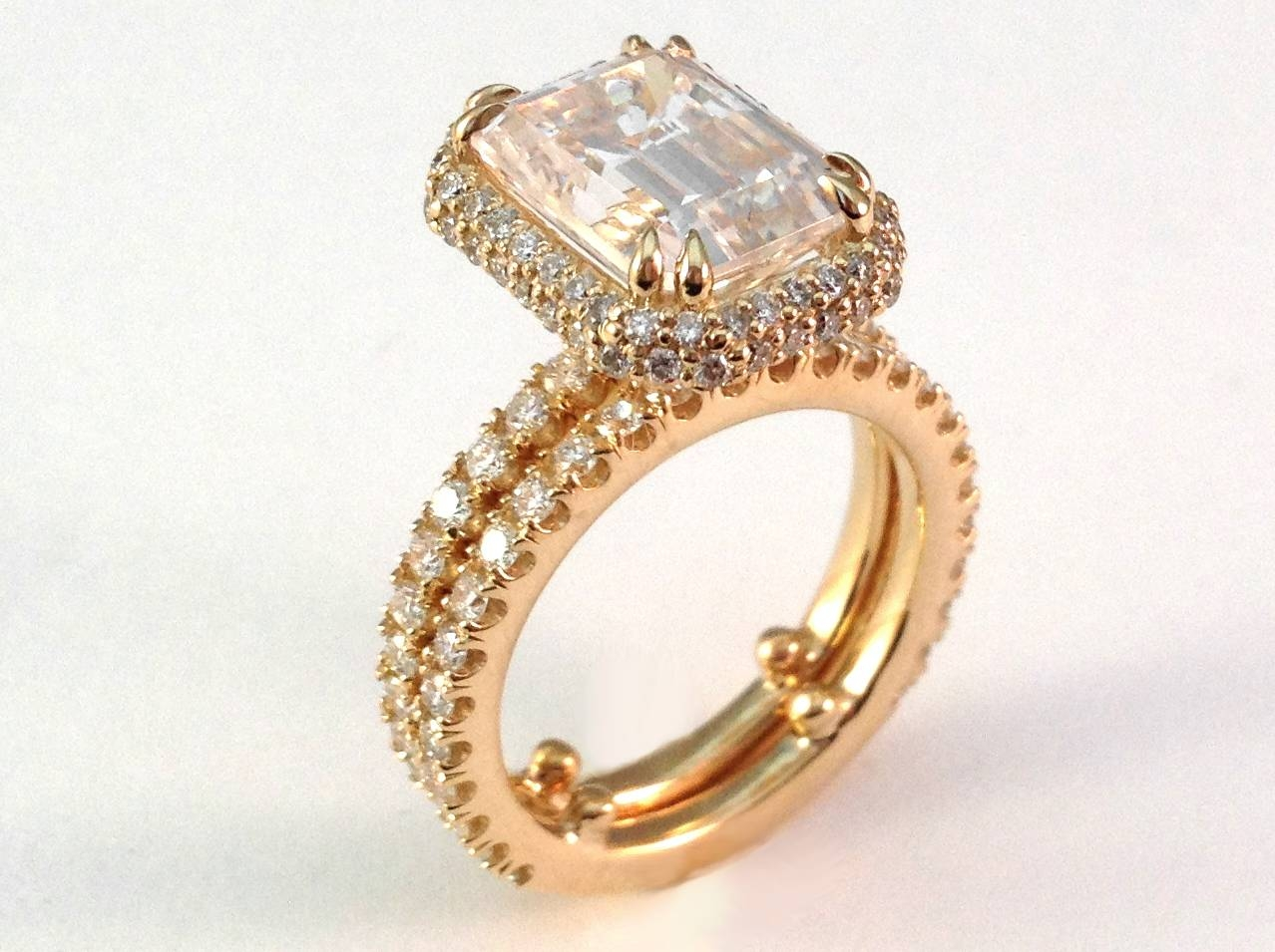 Engagement Ring  Emerald Cut Diamond Halo Bridal Set In 14K Yellow In Molly Sims Wedding Rings (View 8 of 15)