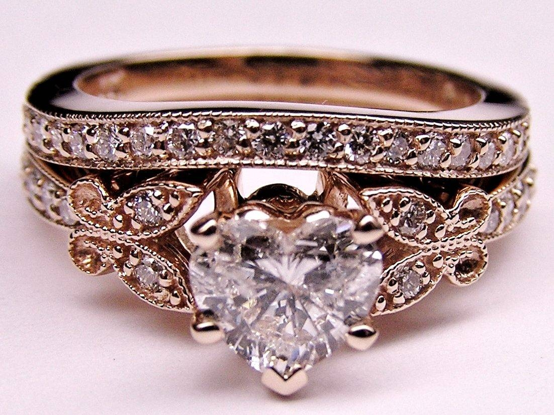 Engagement Ring  Heart Shape Diamond Butterfly Vintage Engagement Throughout Country Engagement Rings (Gallery 7 of 15)