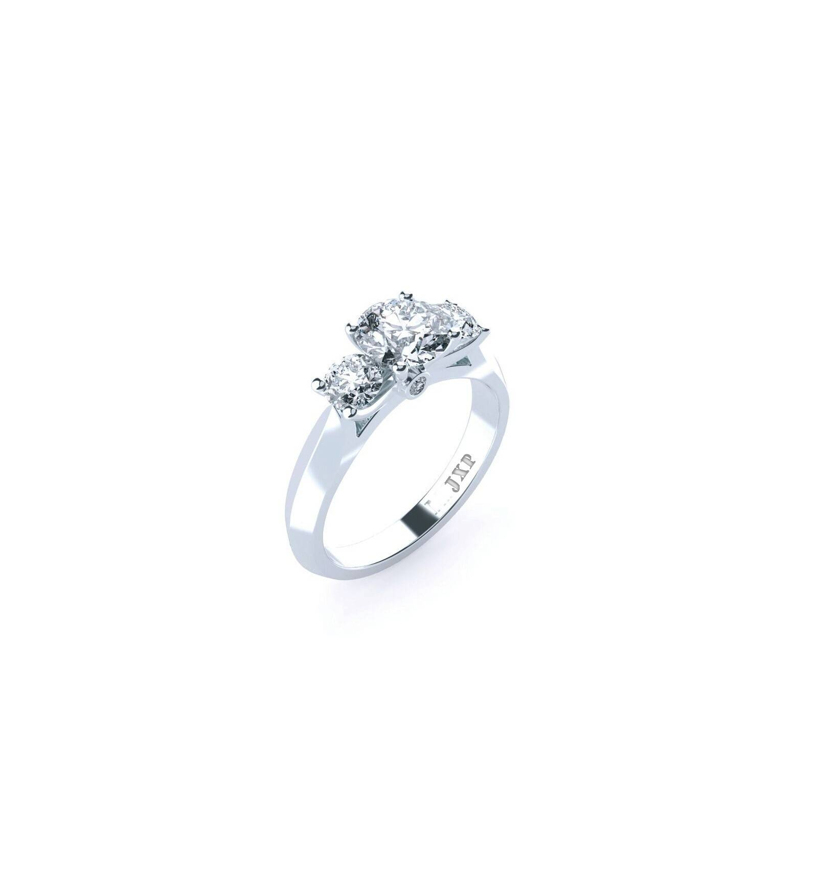Engagement Ring In Trinity Design With Three Diamonds Within Trinity Diamond Engagement Rings (View 10 of 15)