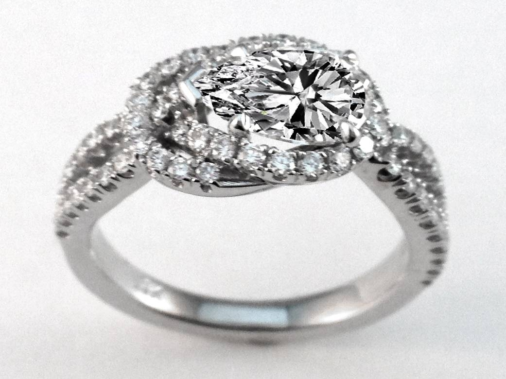Engagement Ring Love Knot Pear Shape Diamond Engagement Ring (View 4 of 15)