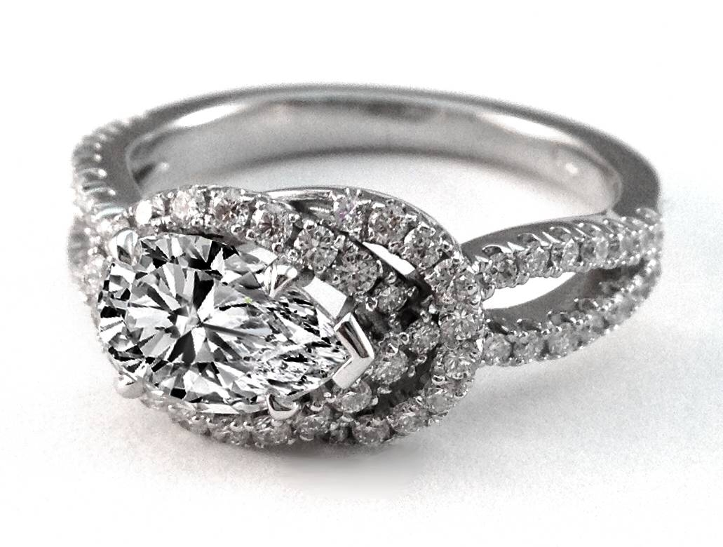 Engagement Ring  Love Knot Pear Shape Diamond Engagement Ring 0.4 Throughout Love Knot Engagement Rings (Gallery 13 of 15)