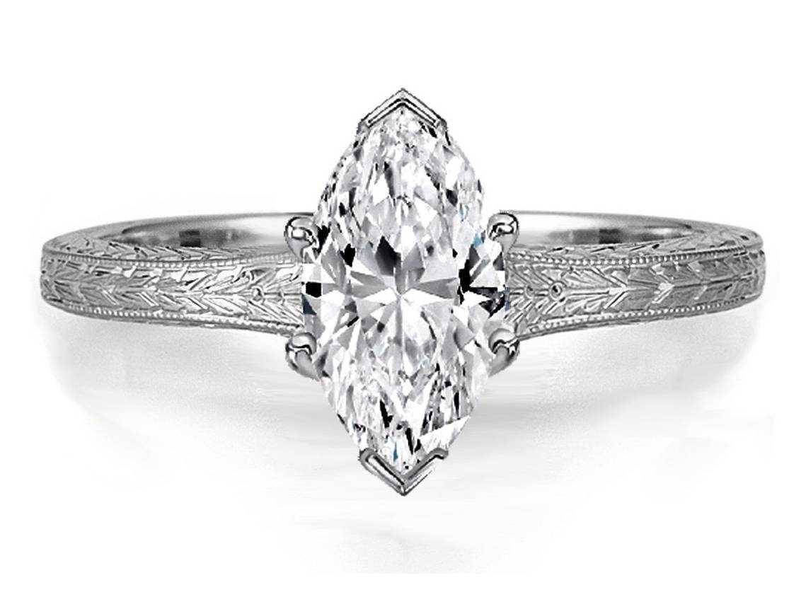 Engagement Ring  Marquise Diamond Solitaire Wheat Engraved Regarding Marquise Cut Diamond Wedding Rings Sets (View 7 of 15)