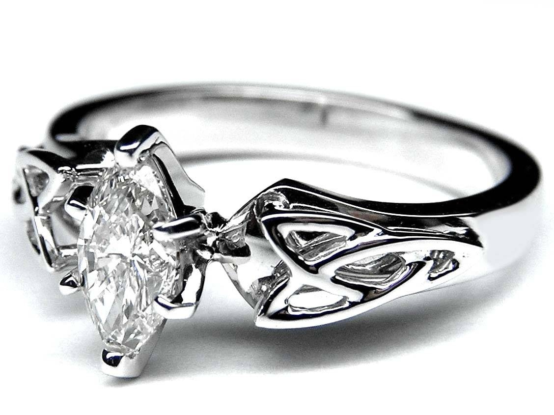 Engagement Ring  Marquise Diamond Triquetra Celtic Engagement Ring Pertaining To Celtic Engagement Ring Settings Only (View 5 of 15)