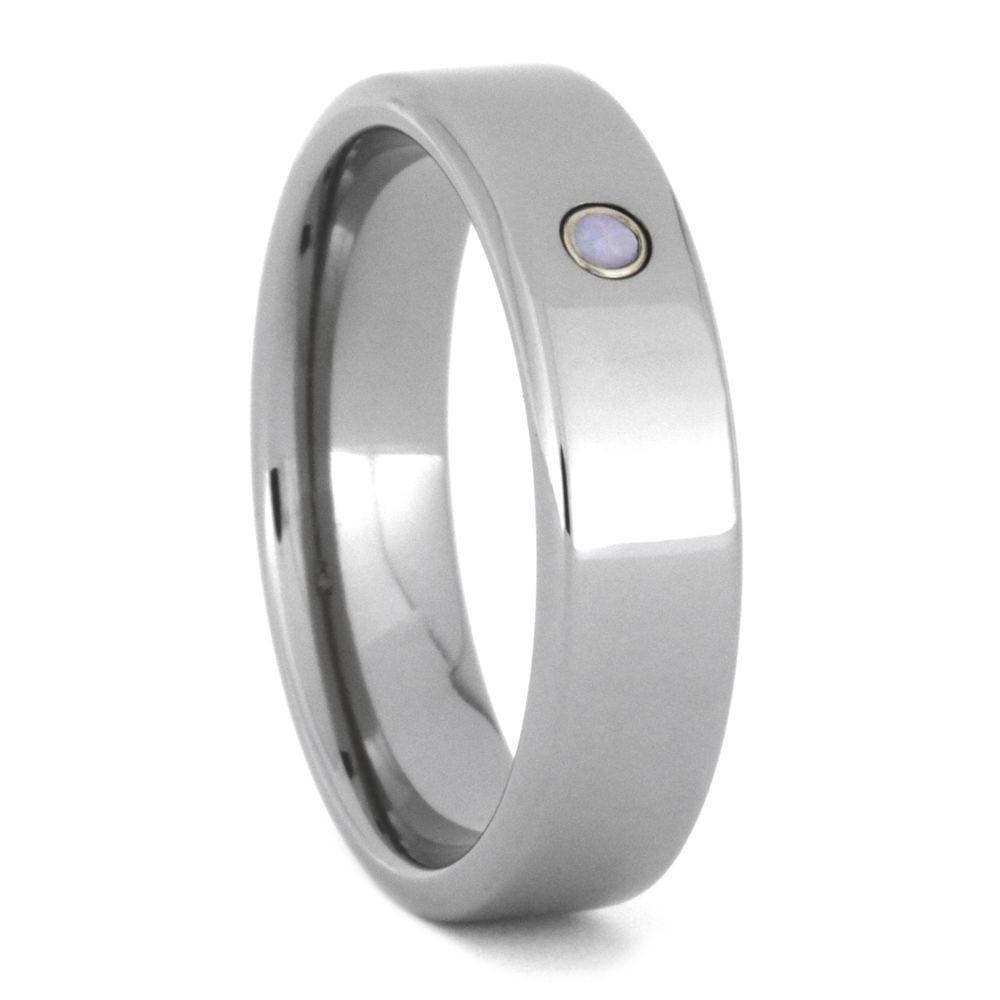 Engagement Ring Or Gemstone Wedding Band In Titanium 3462 For Opal Wedding Bands (View 2 of 15)