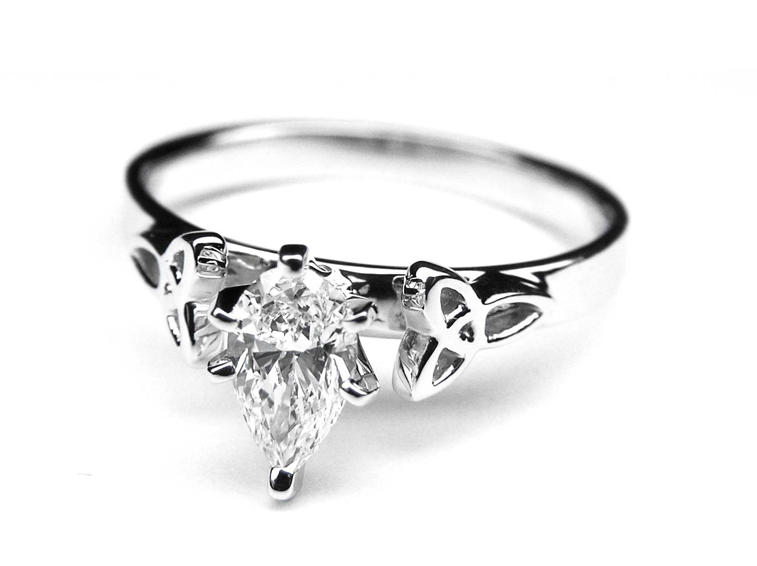 Engagement Ring  Pear Diamond Celtic Knot Engagement Ring In 14K With Celtic Trinity Engagement Rings (View 7 of 15)