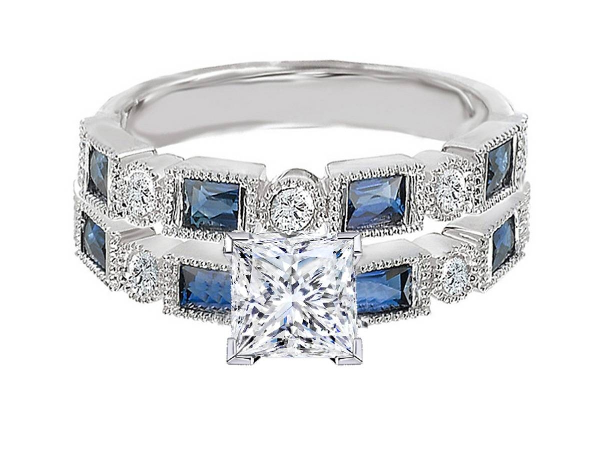 Engagement Ring  Princess Cut Diamond Engagement Ring Blue Throughout Sapphire Engagement Rings With Wedding Band (Gallery 11 of 15)