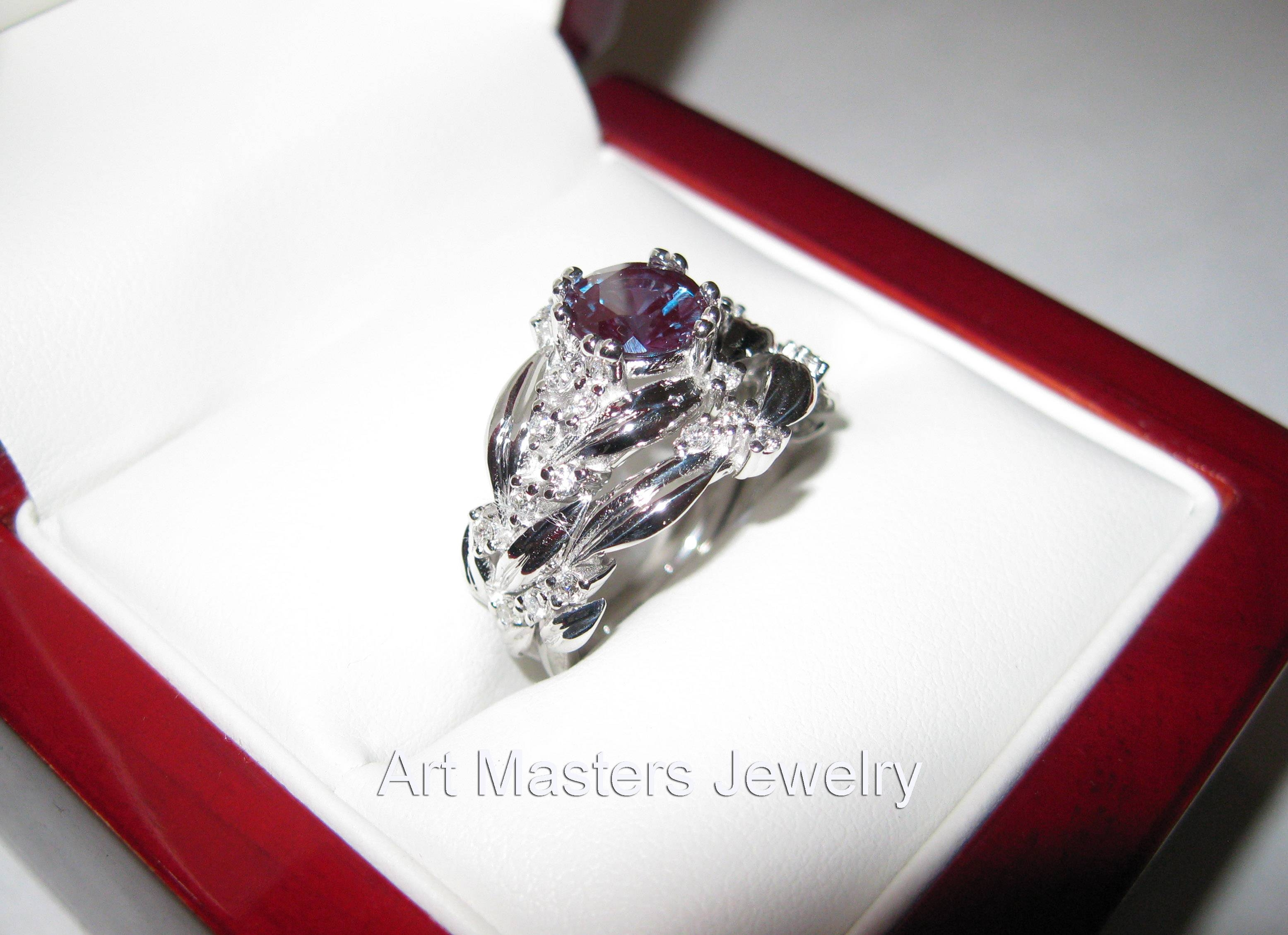 Engagement Ring Set – Art Masters Jewelry – Engagement And Wedding Pertaining To Alexandrite Wedding Bands (View 9 of 15)