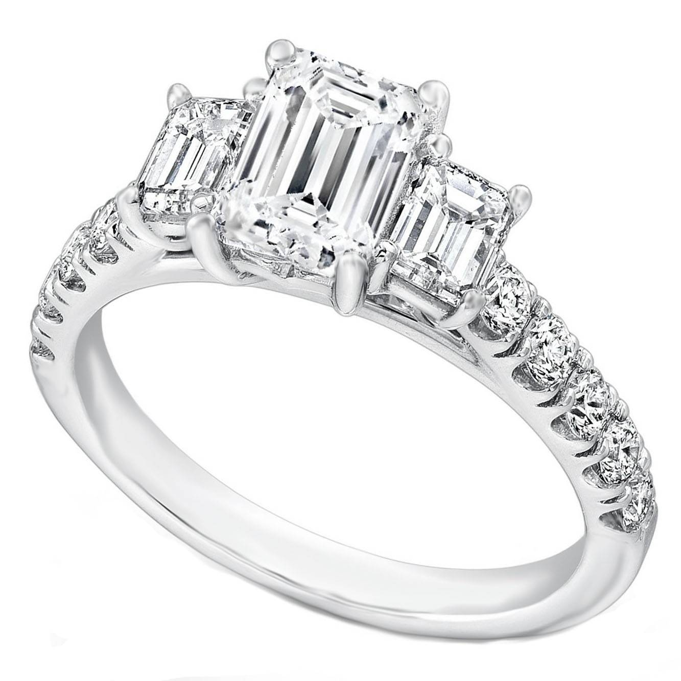 Engagement Ring  Three Stone Emerald Cut Diamond Cathedral Regarding White Gold 3 Stone Engagement Rings (View 8 of 15)