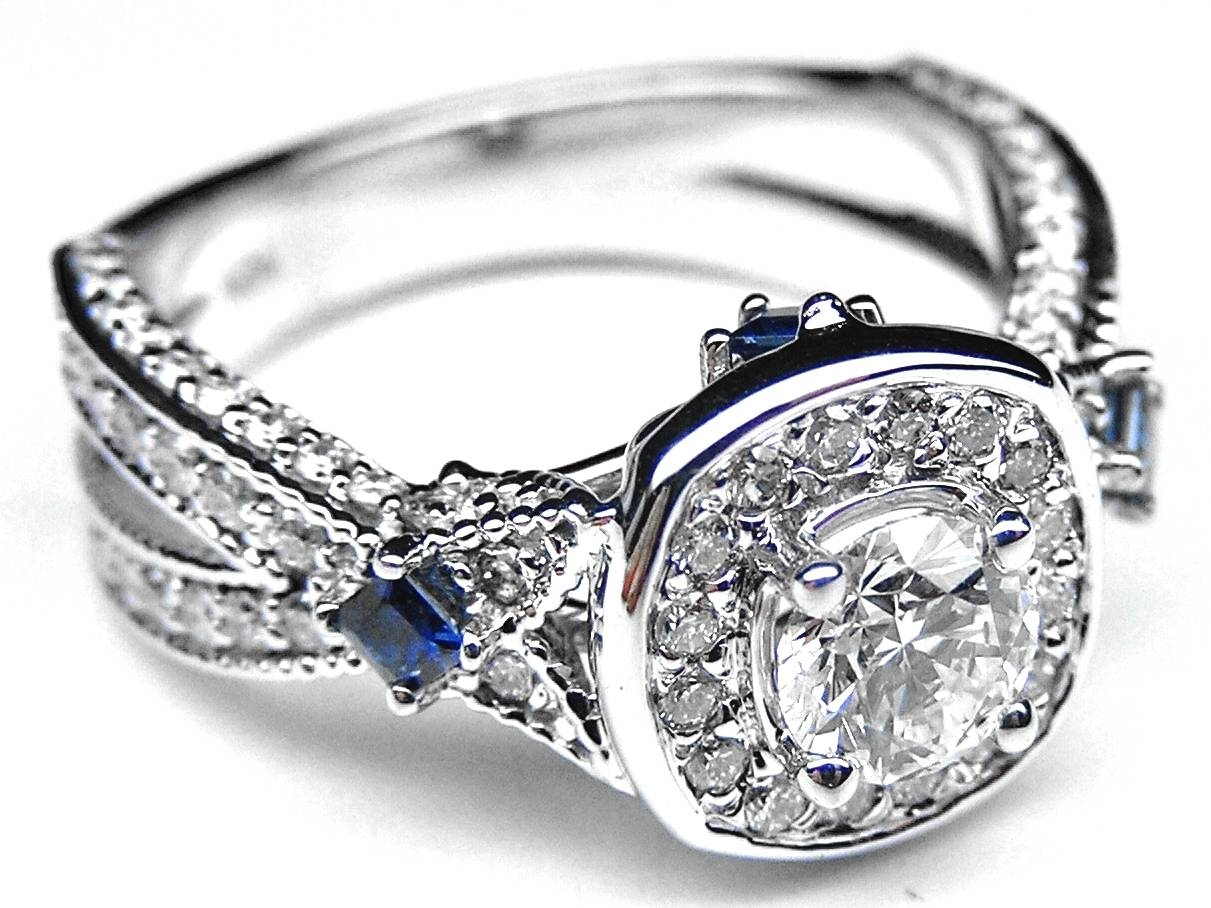 Engagement Rings : 11 Amazing Diamond Rings With Sapphires Vintage For Wedding Rings With Sapphire And Diamonds (View 7 of 15)