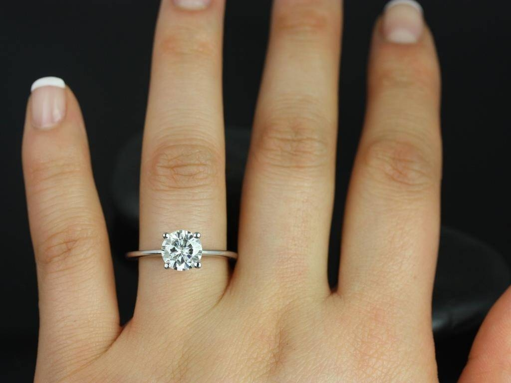 Engagement Rings Amazing Solitaire With Diamond Within Skinny Wedding Bands Gallery