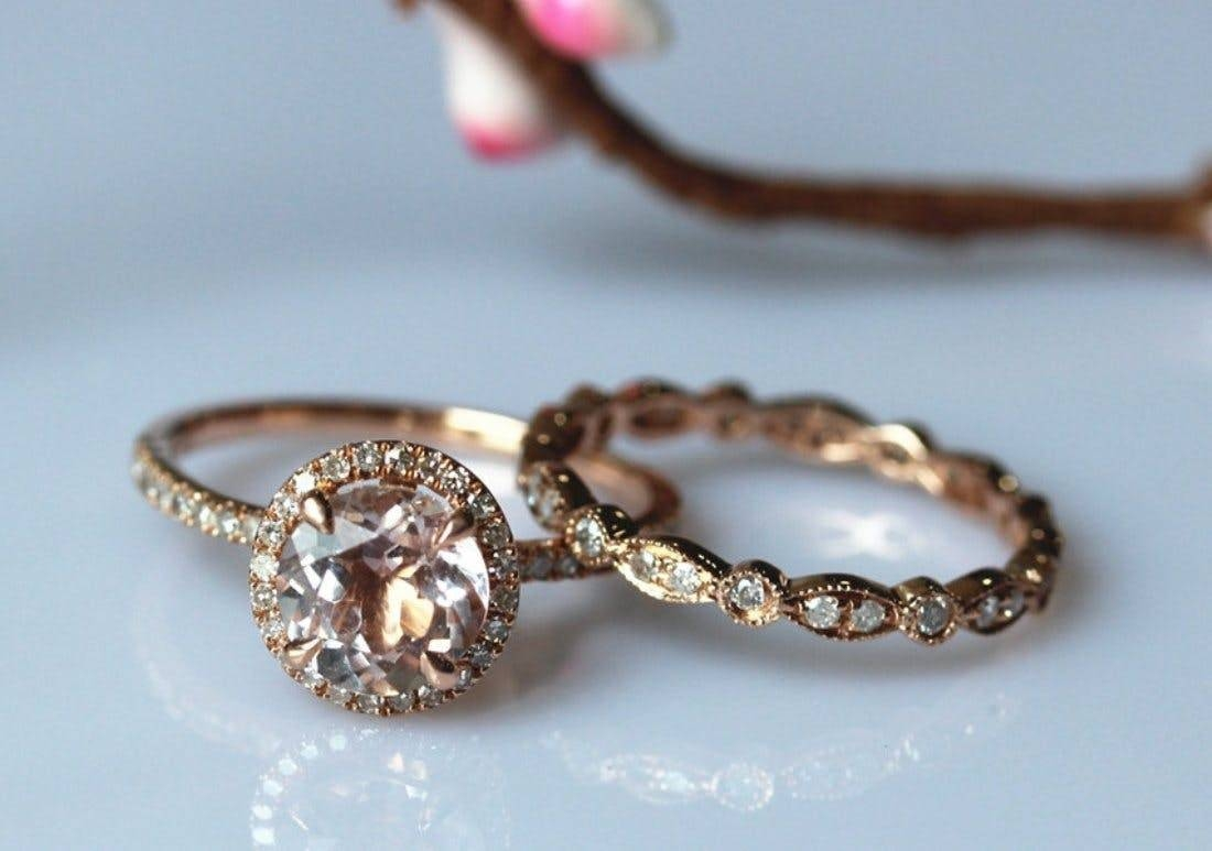 Engagement Rings : Awesome And Beautiful Rose Gold Wedding Ring With Regard To Etsy Vintage Wedding Bands (View 3 of 15)