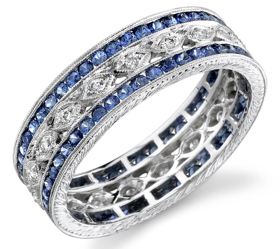 Engagement Rings : Awesome Diamond Engagement Rings With Sapphires With Sapphire And Diamond Wedding Rings (View 5 of 15)