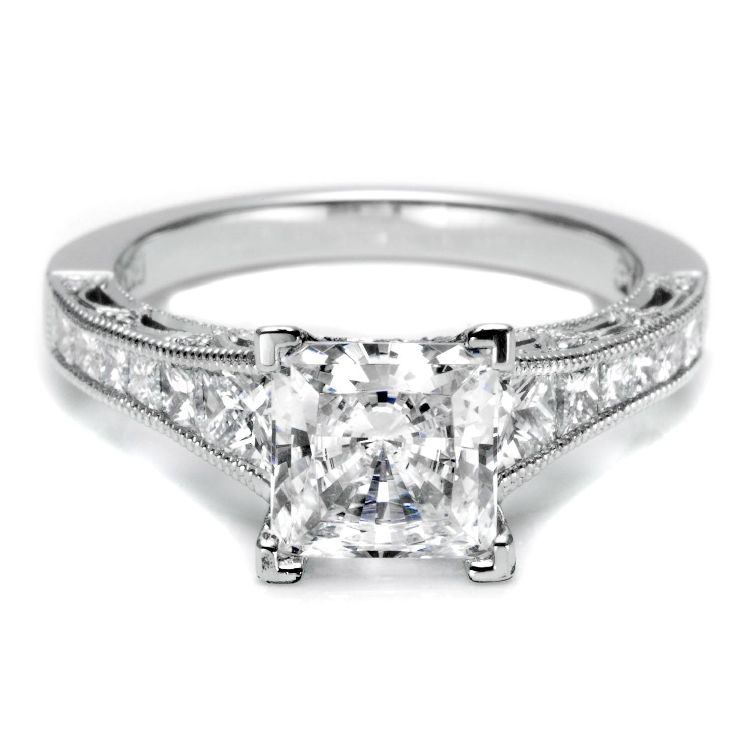 Engagement Rings : Beautiful Diamond Ring With A Sapphire Intended For Wedding Rings With Diamonds All Around (View 4 of 15)