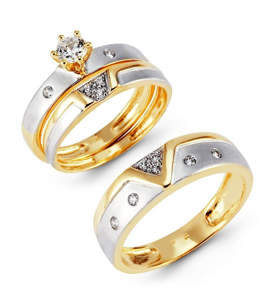Engagement Rings : Beautiful Engagement Ring Set For Her Trio Throughout Cheap Yellow Gold Wedding Rings (View 3 of 15)