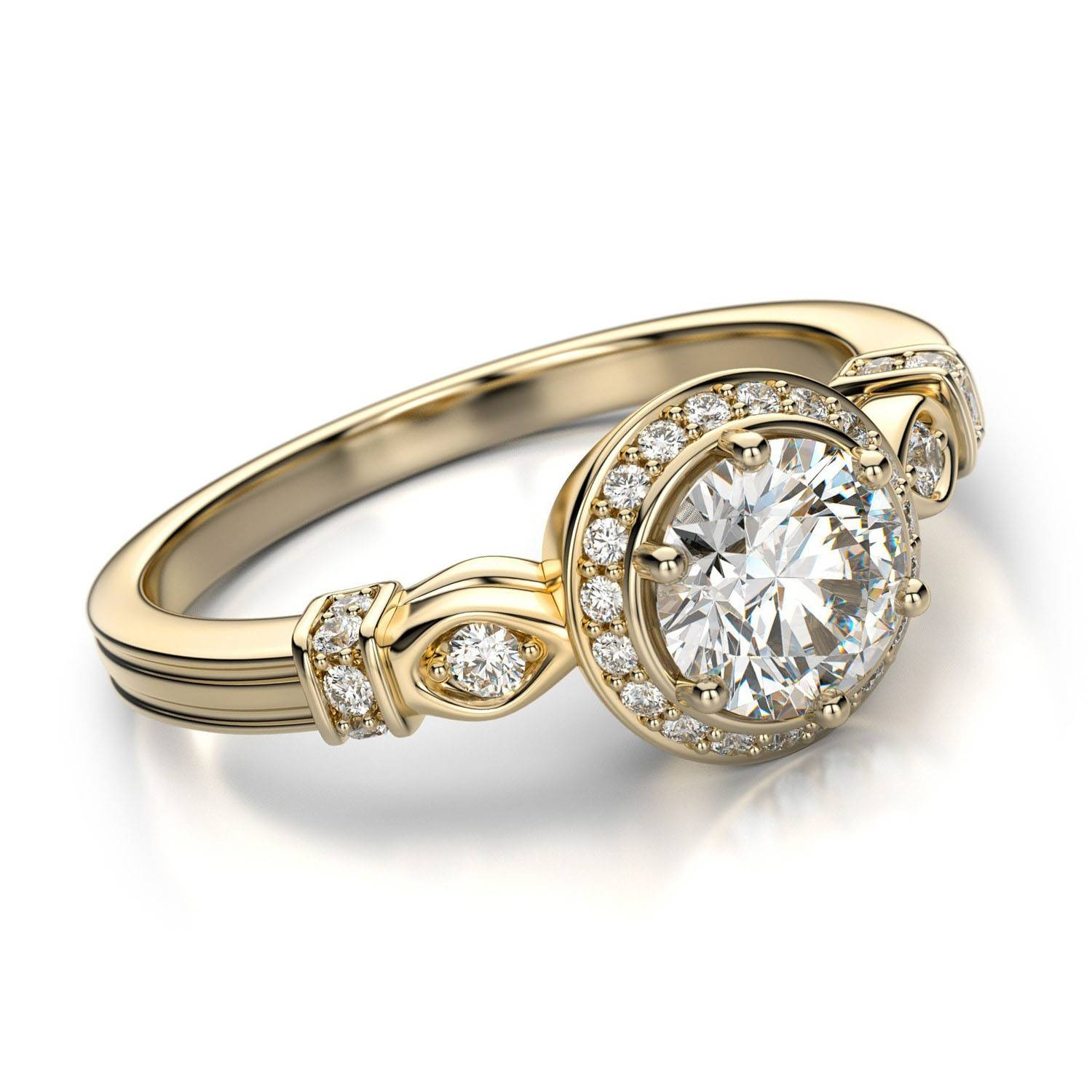 gold ring white moissanites lab jewellery pin bands eternity women romantic diamond wedding grown engagement for gala