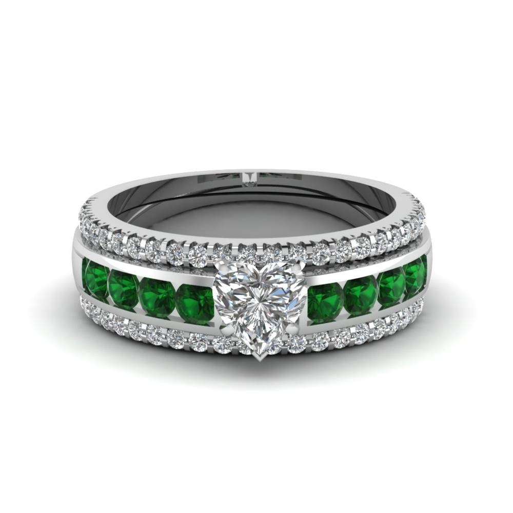 Engagement Rings – Bridal & Trio Wedding Ring Sets | Fascinating Inside Emerald Wedding Rings For Women (View 5 of 15)