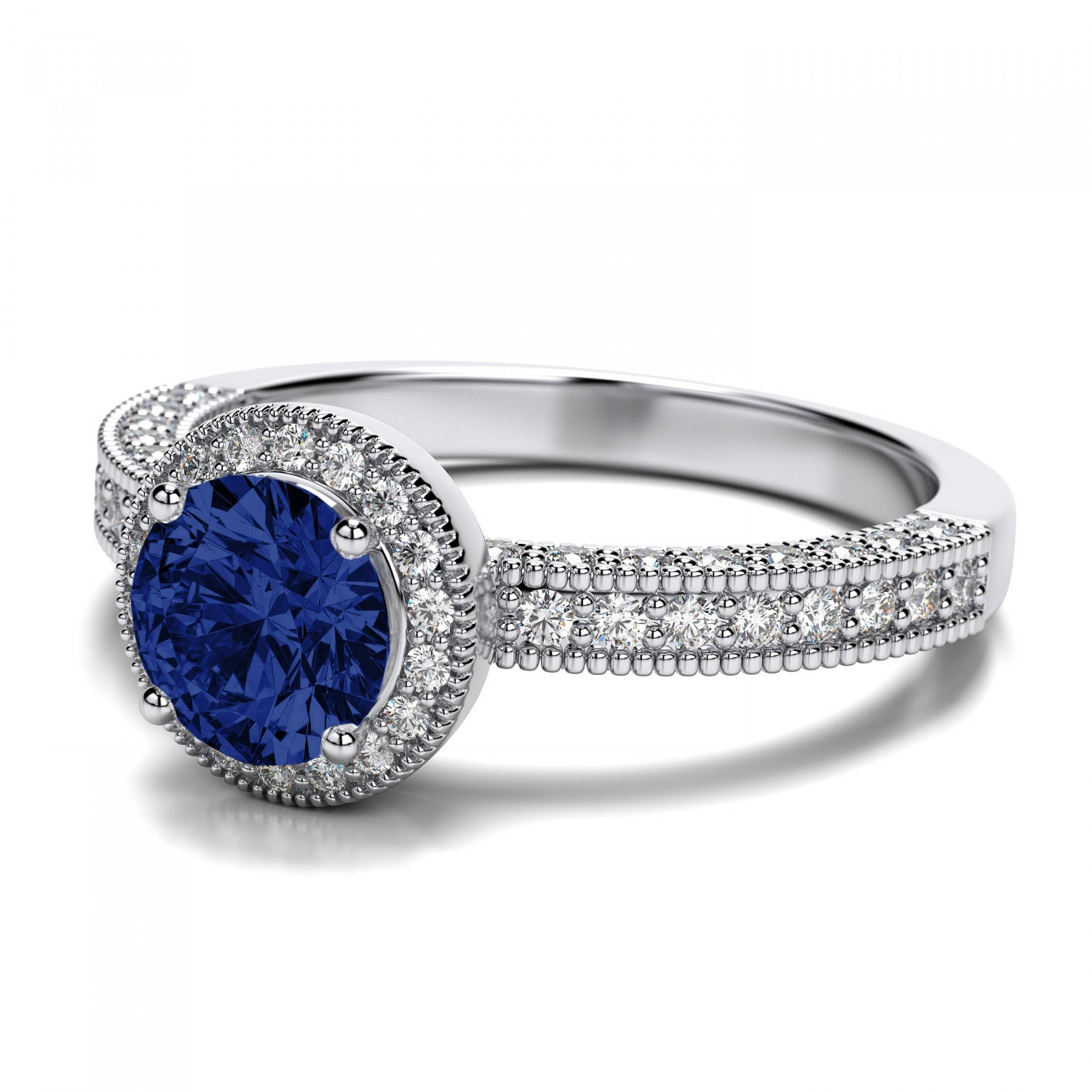 Engagement Rings : Diamond Engagement Ring With Sapphire Wedding Regarding Vintage Sapphire Wedding Bands (View 4 of 15)