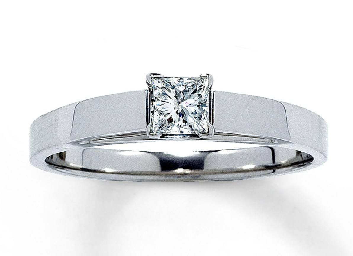 Engagement Rings : Diamond Solitaire Ring 1 4 Carat Princess Cut In Size 4 White Gold Engagement Rings (View 7 of 15)