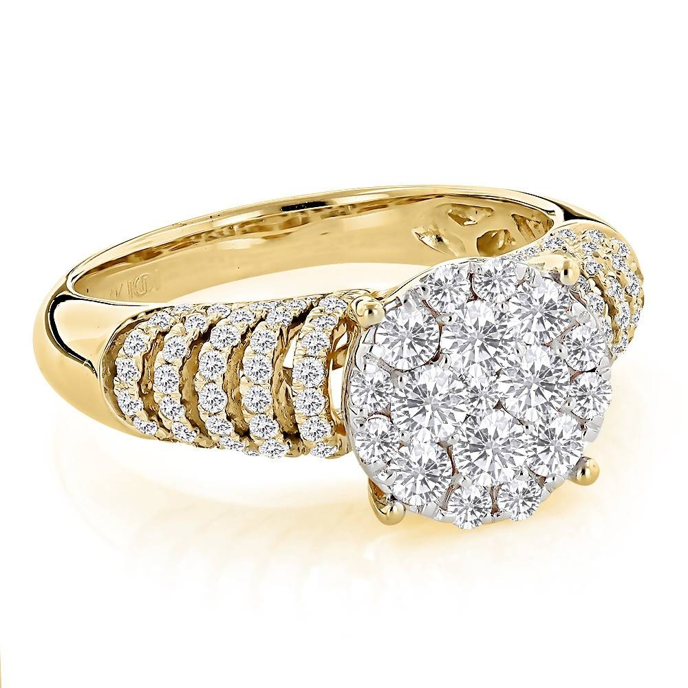 Engagement Rings: Ladies Diamond Ring 1.28Ct 14K Gold Intended For Engagement Rings For Ladies (Gallery 1 of 15)