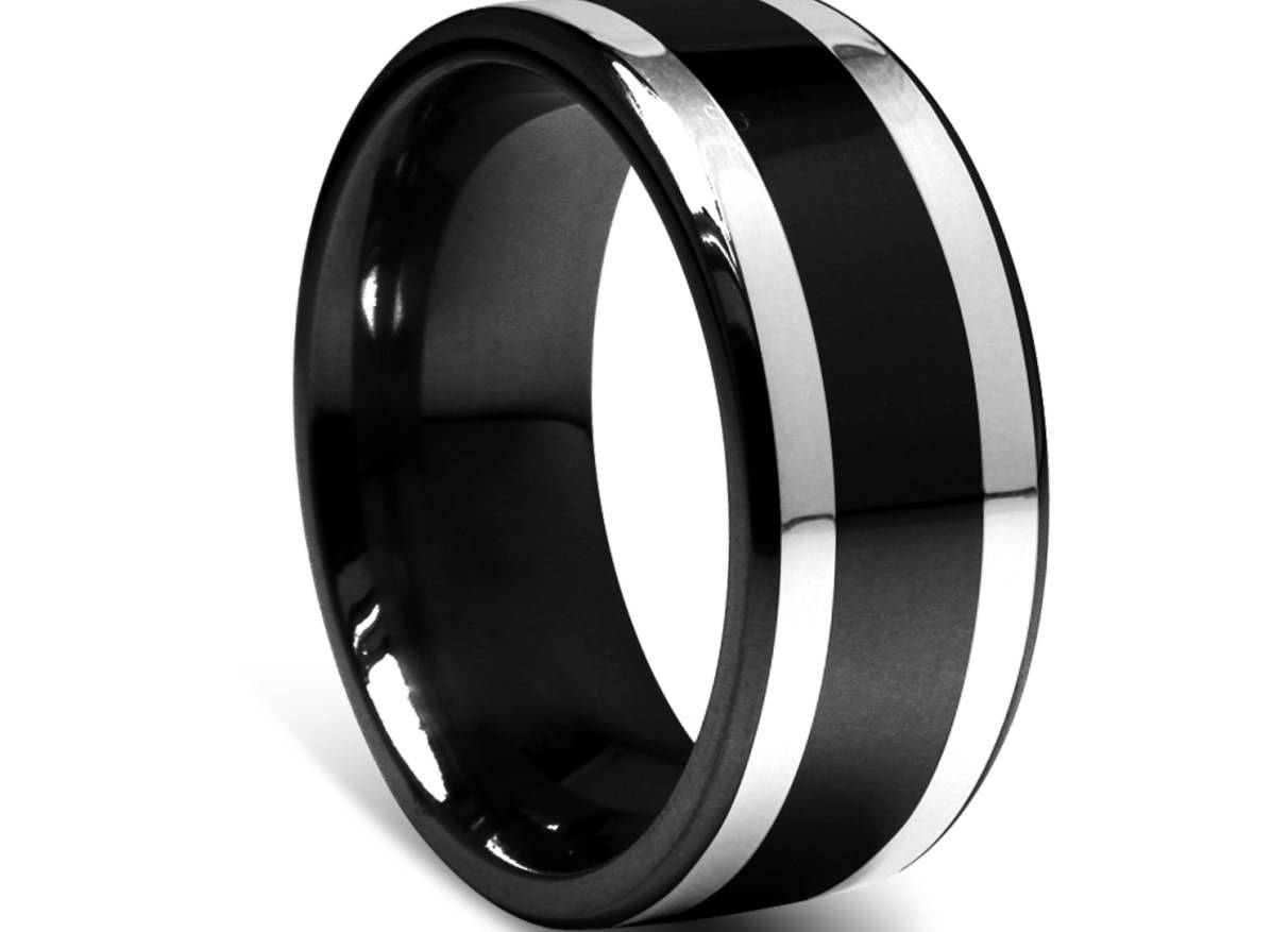 Engagement Rings : Mens Titanium Wedding Band Wonderful Titanium With Black And Silver Men's Wedding Bands (View 15 of 15)