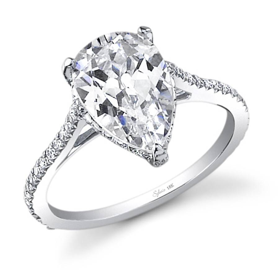 Engagement Rings : Pear Diamond Engagement Ring Setting Platinum With Regard To Pear Shaped Diamond Settings Engagement Rings (Gallery 13 of 15)