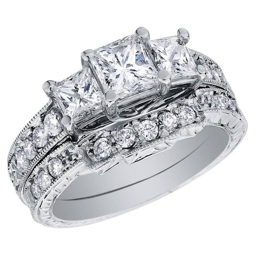 Engagement Rings : Princess Cut Diamond Wedding Ring Stunning Throughout Diamond Wedding Rings For Her (View 6 of 15)